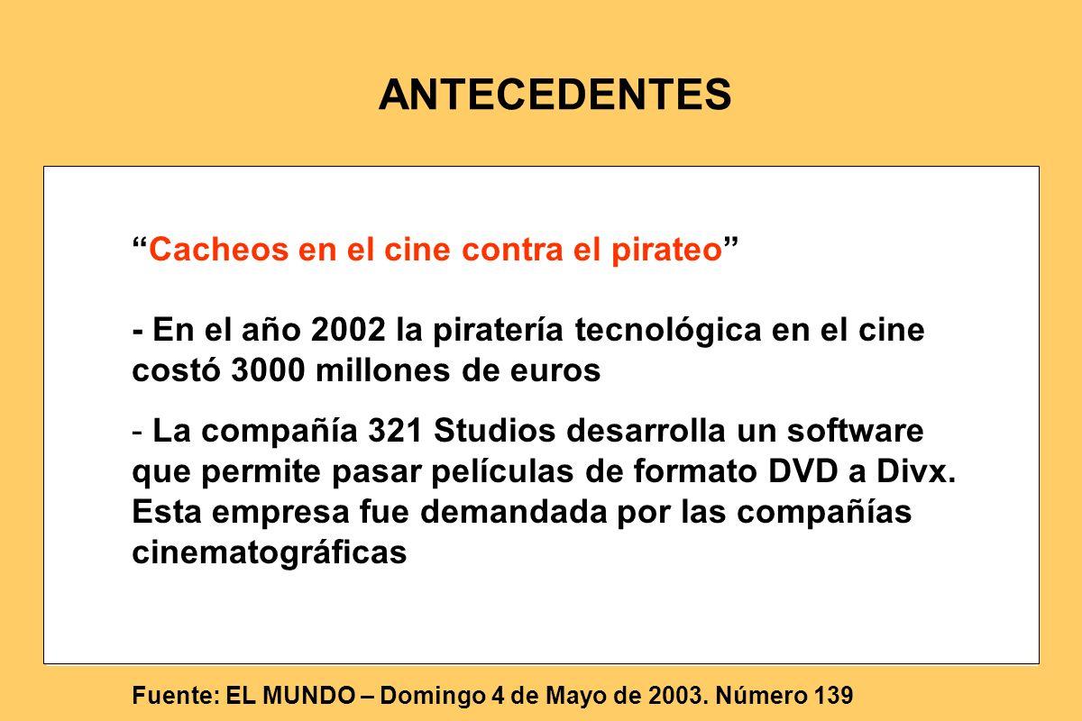 Cacheos en el cine contra el pirateo - En el año 2002 la piratería tecnológica en el cine costó 3000 millones de euros - La compañía 321 Studios desar