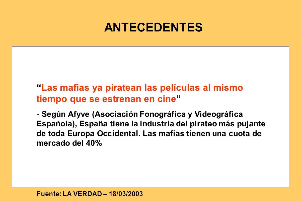 Fuente: LA VERDAD – 18/03/2003 ANTECEDENTES Las mafias ya piratean las películas al mismo tiempo que se estrenan en cine - Según Afyve (Asociación Fon