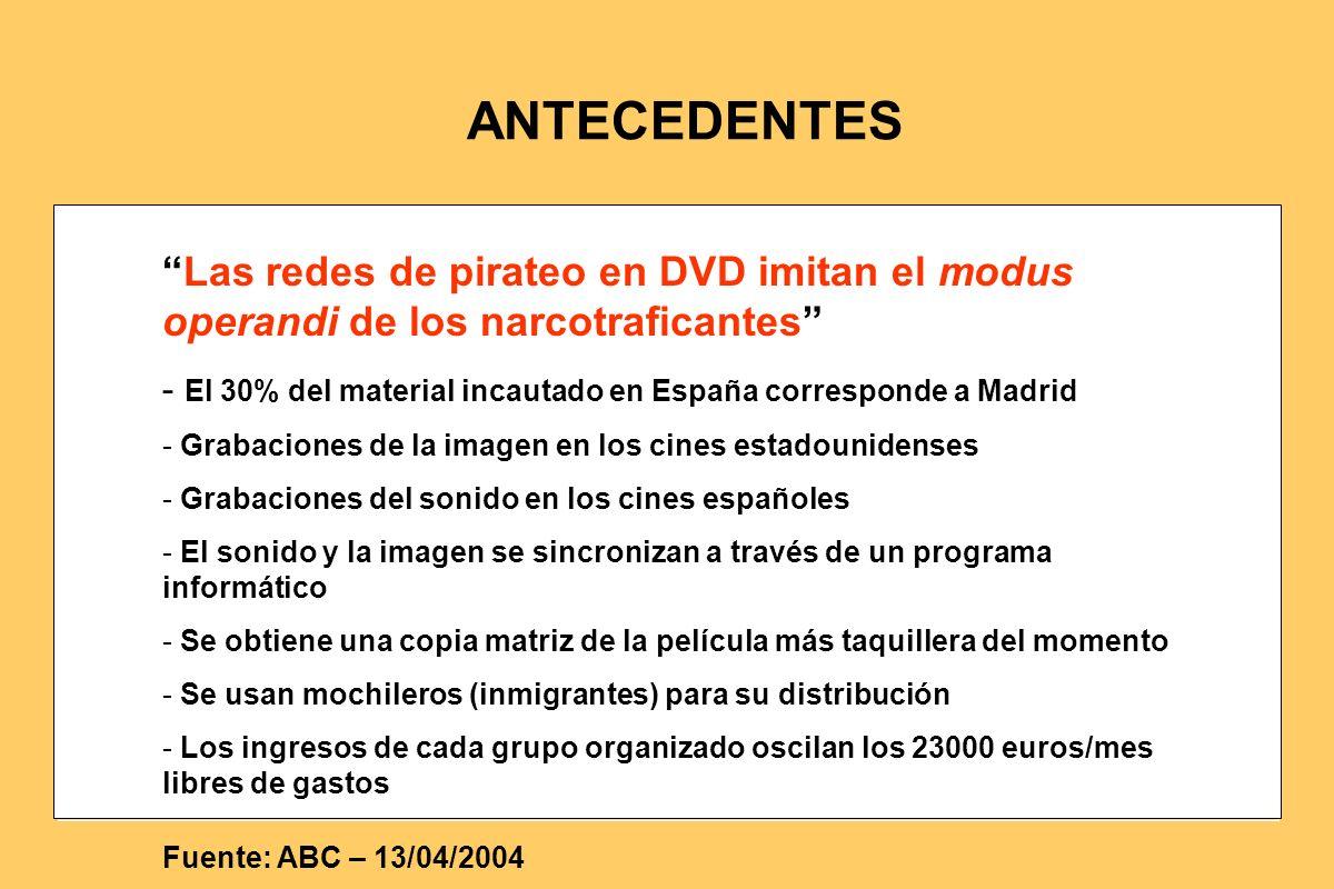 Las redes de pirateo en DVD imitan el modus operandi de los narcotraficantes - El 30% del material incautado en España corresponde a Madrid - Grabacio