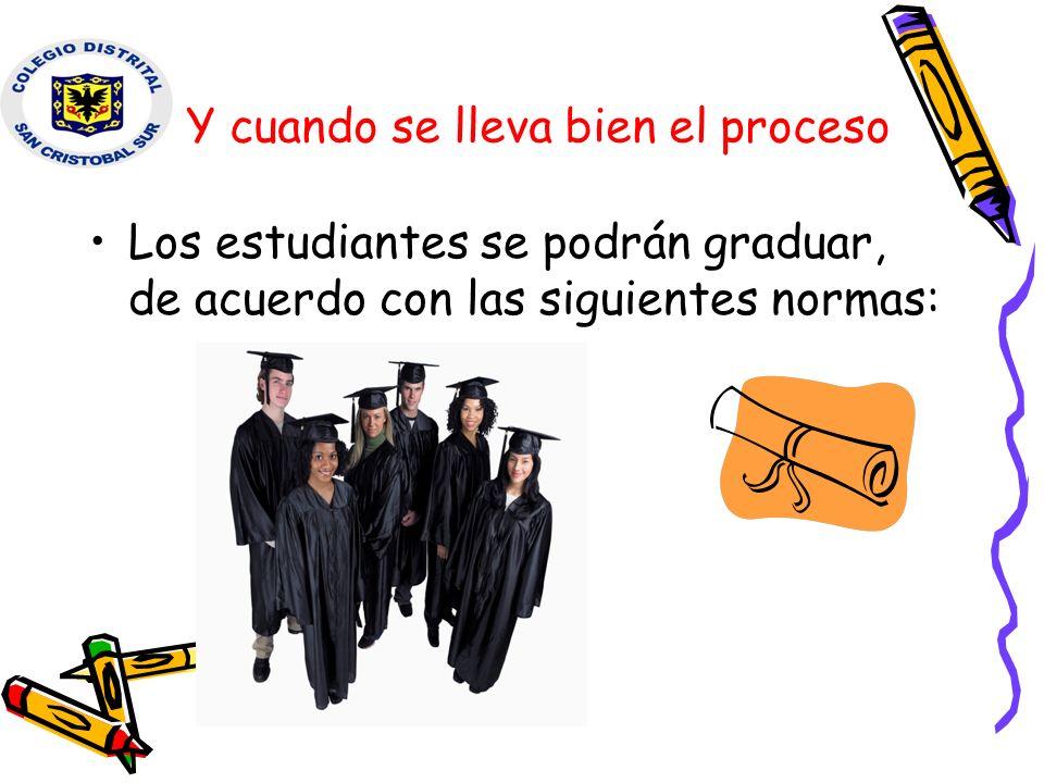 Y cuando se lleva bien el proceso Los estudiantes se podrán graduar, de acuerdo con las siguientes normas: