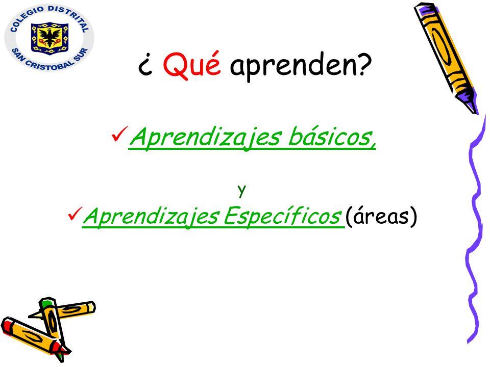 ¿ Qué aprenden? Aprendizajes básicos, Aprendizajes básicos, y Aprendizajes Específicos (áreas) Aprendizajes Específicos
