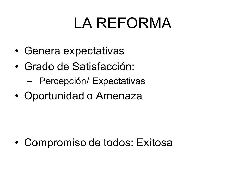 LA REFORMA Genera expectativas Grado de Satisfacción: –Percepción/ Expectativas Oportunidad o Amenaza Compromiso de todos: Exitosa