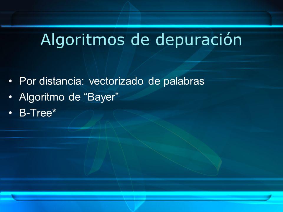 Algoritmos de depuración Por distancia: vectorizado de palabras Algoritmo de Bayer B-Tree*