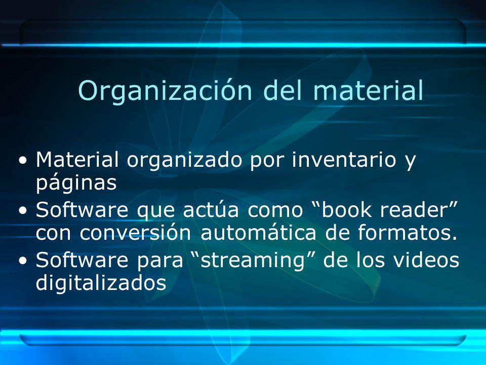 Organización del material Material organizado por inventario y páginas Software que actúa como book reader con conversión automática de formatos.