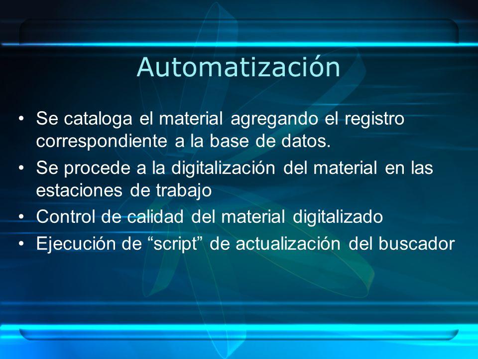 Automatización Se cataloga el material agregando el registro correspondiente a la base de datos.