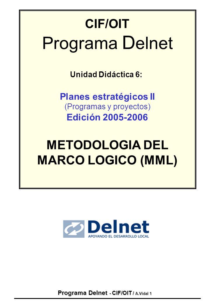 Programa Delnet - CIF/OIT / A.Vidal 1 CIF/OIT Programa D elnet Unidad Didáctica 6: Planes estratégicos II (Programas y proyectos) Edición 2005-2006 ME