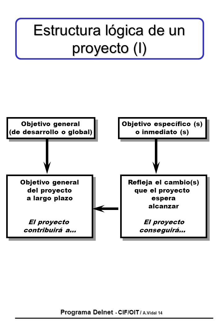 Programa Delnet - CIF/OIT / A.Vidal 14 Estructura lógica de un proyecto (I) Objetivo general (de desarrollo o global) Objetivo general (de desarrollo