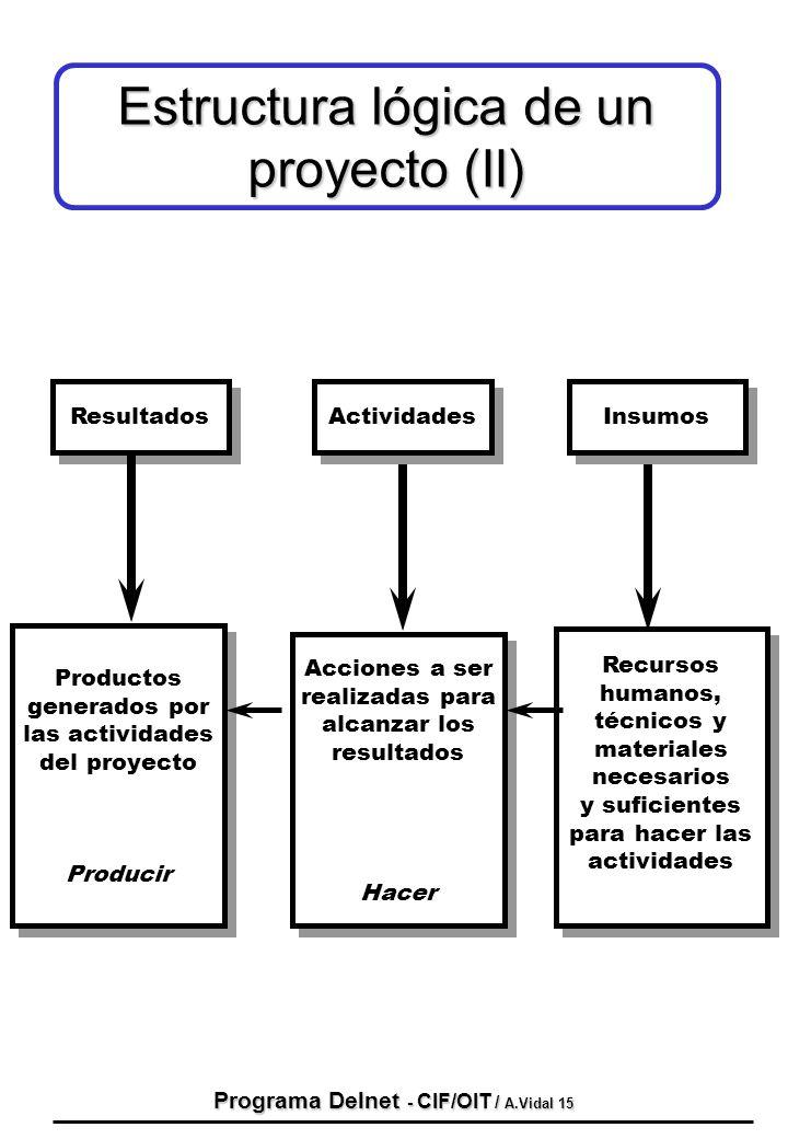 Programa Delnet - CIF/OIT / A.Vidal 15 Resultados Productos generados por las actividades del proyecto Producir Productos generados por las actividade
