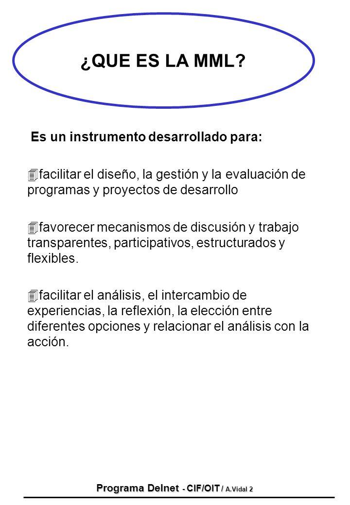 Programa Delnet - CIF/OIT / A.Vidal 2 ¿QUE ES LA MML? Es un instrumento desarrollado para: 4facilitar el diseño, la gestión y la evaluación de program