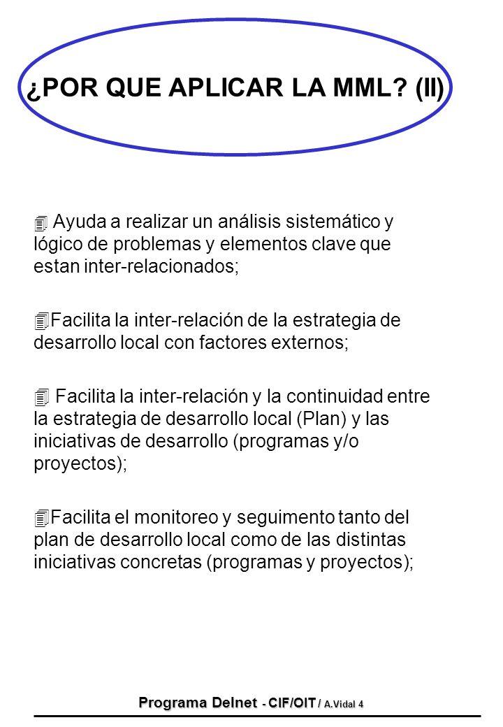 Programa Delnet - CIF/OIT / A.Vidal 4 4 Ayuda a realizar un análisis sistemático y lógico de problemas y elementos clave que estan inter-relacionados;