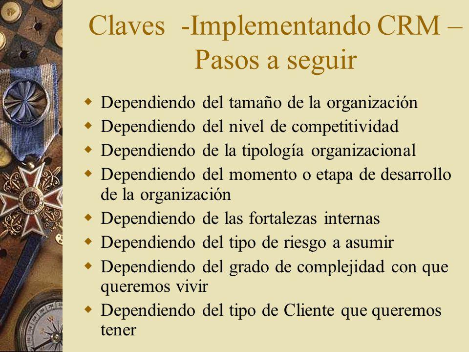 Claves -Implementando CRM – Pasos a seguir Dependiendo del tamaño de la organización Dependiendo del nivel de competitividad Dependiendo de la tipolog