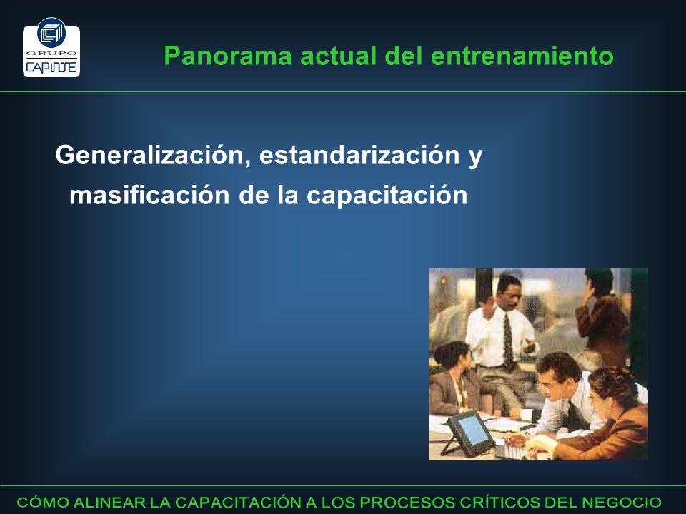 Generalización, estandarización y masificación de la capacitación