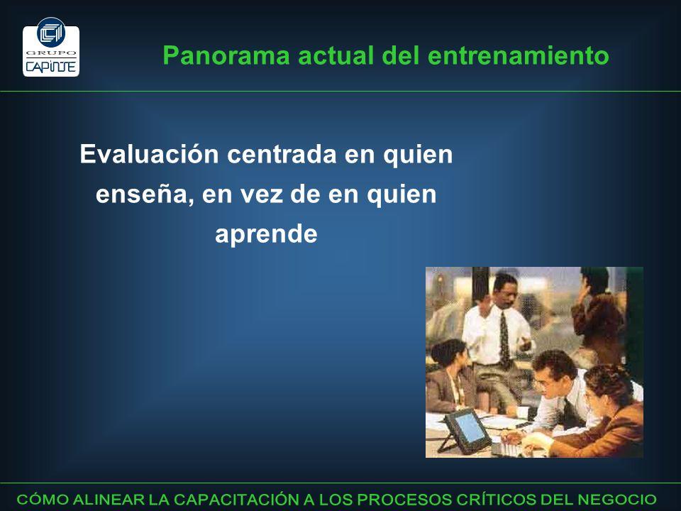 Panorama actual del entrenamiento Evaluación centrada en quien enseña, en vez de en quien aprende