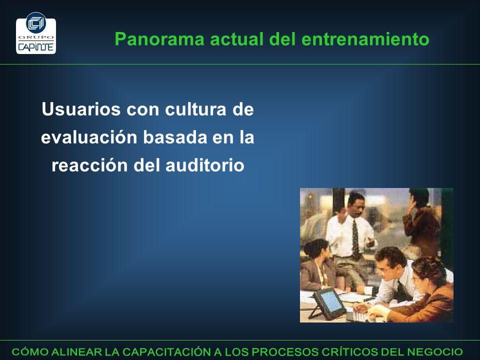 Usuarios con cultura de evaluación basada en la reacción del auditorio Panorama actual del entrenamiento