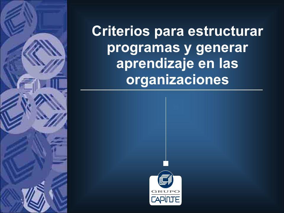 Criterios para estructurar programas y generar aprendizaje en las organizaciones