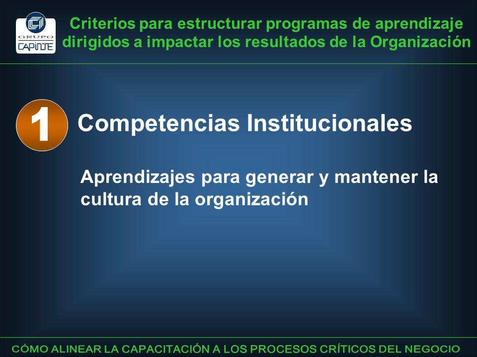 Criterios para estructurar programas de aprendizaje dirigidos a impactar los resultados de la Organización Competencias Institucionales Aprendizajes p
