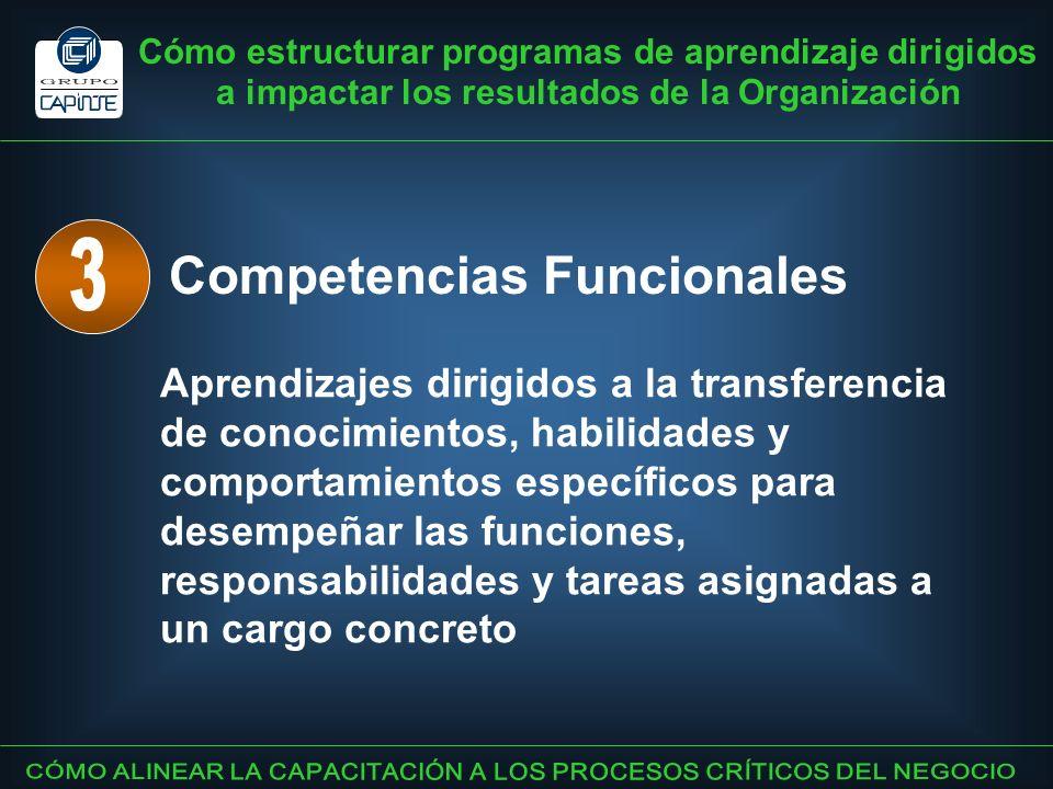 Cómo estructurar programas de aprendizaje dirigidos a impactar los resultados de la Organización Competencias Funcionales Aprendizajes dirigidos a la