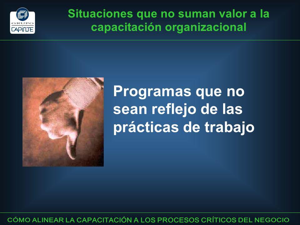 Situaciones que no suman valor a la capacitación organizacional Programas que no sean reflejo de las prácticas de trabajo