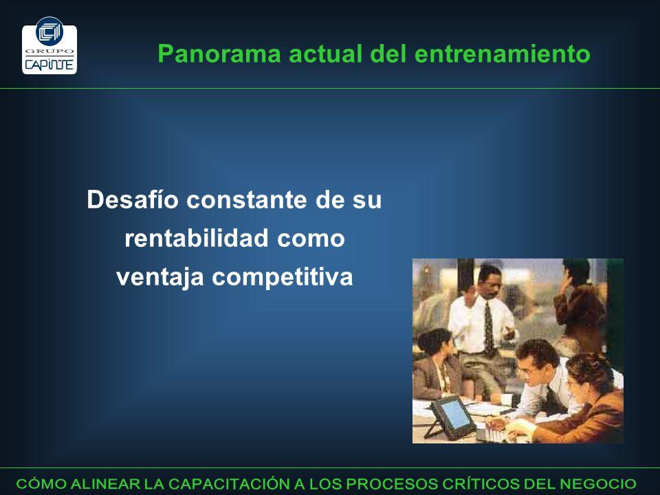 Desafío constante de su rentabilidad como ventaja competitiva Panorama actual del entrenamiento