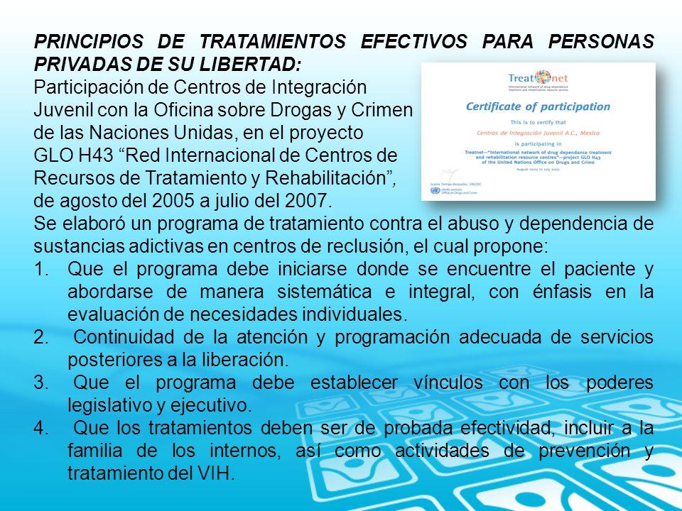 PRINCIPIOS DE TRATAMIENTOS EFECTIVOS PARA PERSONAS PRIVADAS DE SU LIBERTAD: Participación de Centros de Integración Juvenil con la Oficina sobre Droga