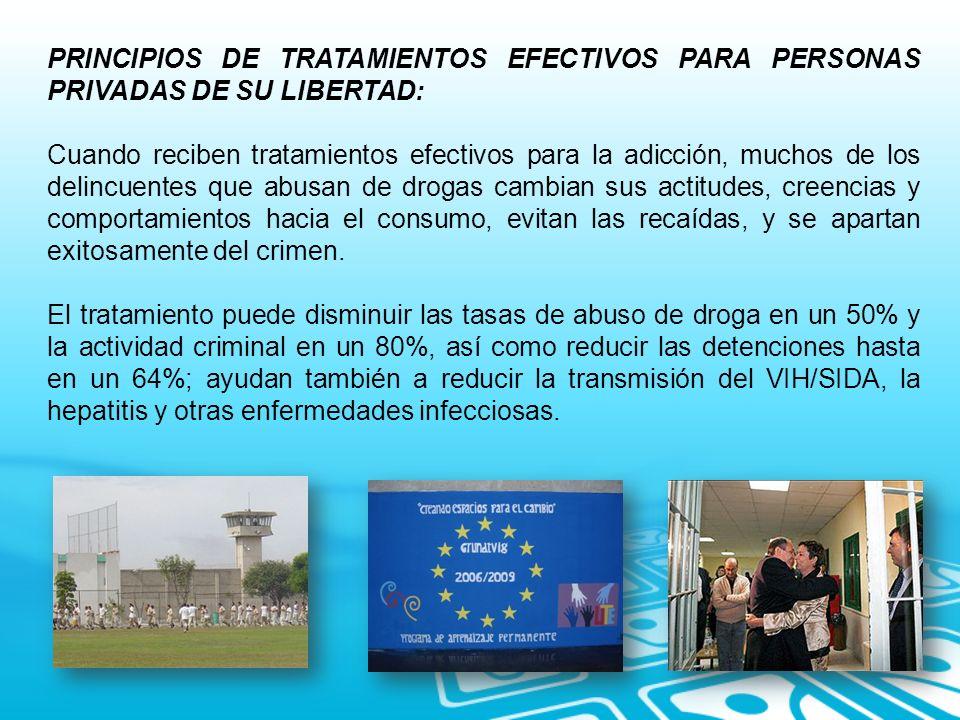 PRINCIPIOS DE TRATAMIENTOS EFECTIVOS PARA PERSONAS PRIVADAS DE SU LIBERTAD: Cuando reciben tratamientos efectivos para la adicción, muchos de los deli
