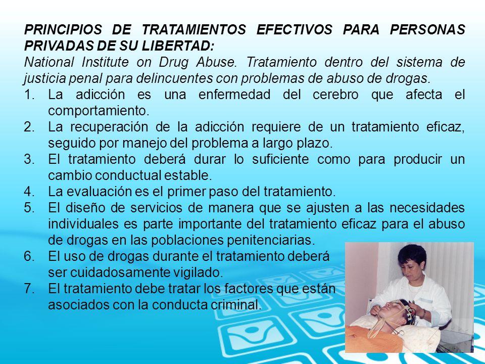 PRINCIPIOS DE TRATAMIENTOS EFECTIVOS PARA PERSONAS PRIVADAS DE SU LIBERTAD: National Institute on Drug Abuse. Tratamiento dentro del sistema de justic