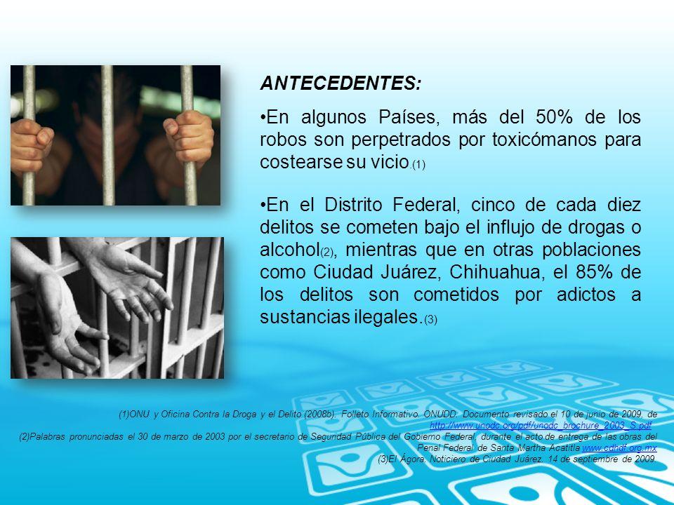 ANTECEDENTES: En algunos Países, más del 50% de los robos son perpetrados por toxicómanos para costearse su vicio.(1) En el Distrito Federal, cinco de