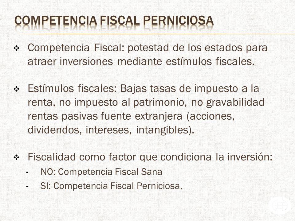 Competencia Fiscal: potestad de los estados para atraer inversiones mediante estímulos fiscales.