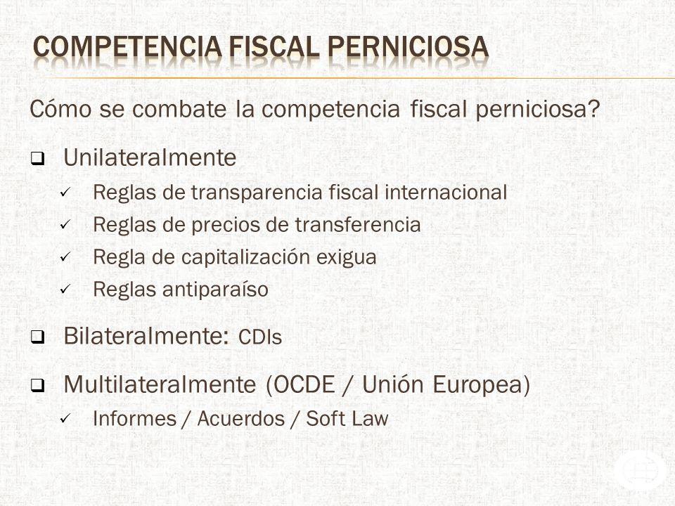 Cómo se combate la competencia fiscal perniciosa.