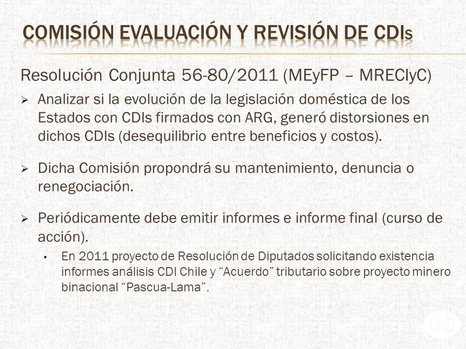 Resolución Conjunta 56-80/2011 (MEyFP – MRECIyC) Analizar si la evolución de la legislación doméstica de los Estados con CDIs firmados con ARG, generó distorsiones en dichos CDIs (desequilibrio entre beneficios y costos).