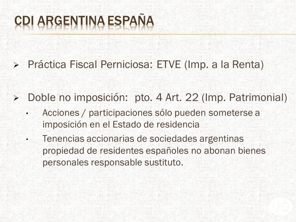 Práctica Fiscal Perniciosa: ETVE (Imp.a la Renta) Doble no imposición: pto.