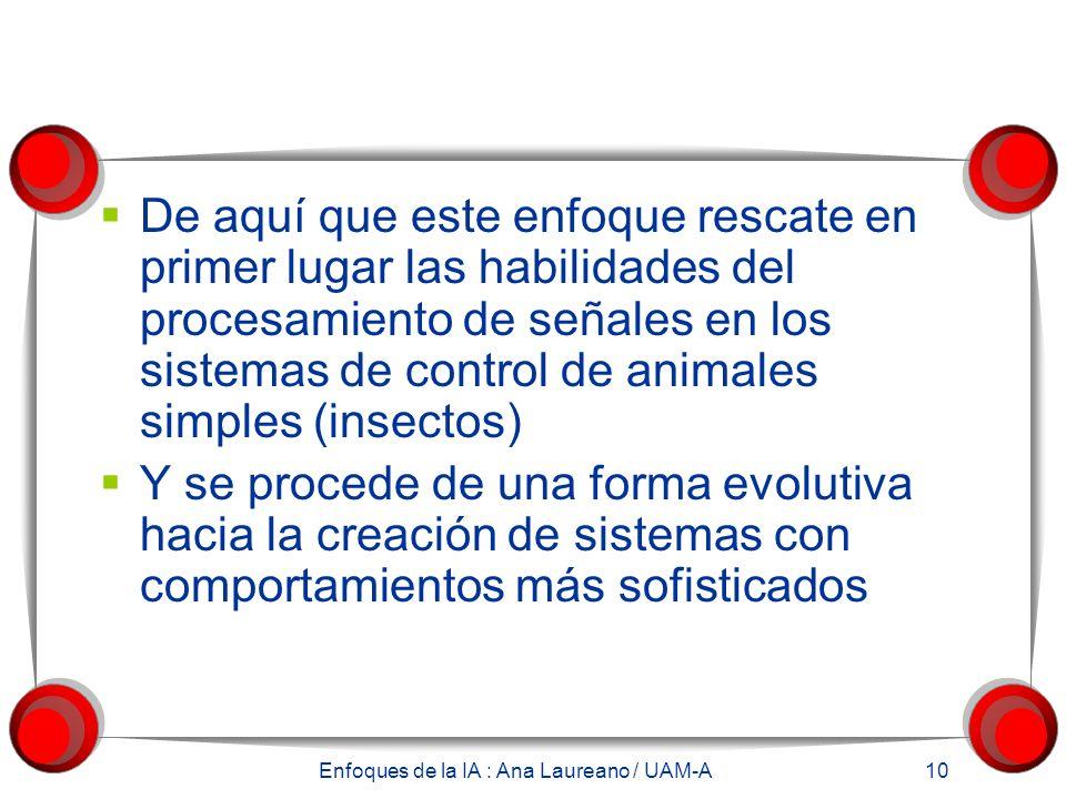 Enfoques de la IA : Ana Laureano / UAM-A 10 De aquí que este enfoque rescate en primer lugar las habilidades del procesamiento de señales en los sistemas de control de animales simples (insectos) Y se procede de una forma evolutiva hacia la creación de sistemas con comportamientos más sofisticados