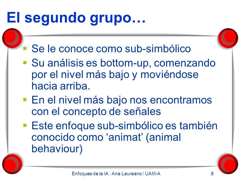 Enfoques de la IA : Ana Laureano / UAM-A 8 El segundo grupo… Se le conoce como sub-simbólico Su análisis es bottom-up, comenzando por el nivel más bajo y moviéndose hacia arriba.