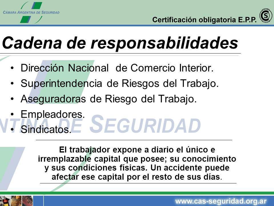 Cadena de responsabilidades Dirección Nacional de Comercio Interior. Superintendencia de Riesgos del Trabajo. Aseguradoras de Riesgo del Trabajo. Empl