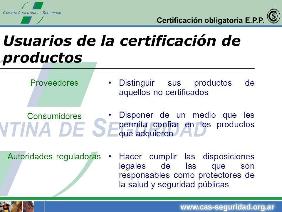 Proveedores Consumidores Autoridades reguladoras Distinguir sus productos de aquellos no certificados Disponer de un medio que les permita confiar en