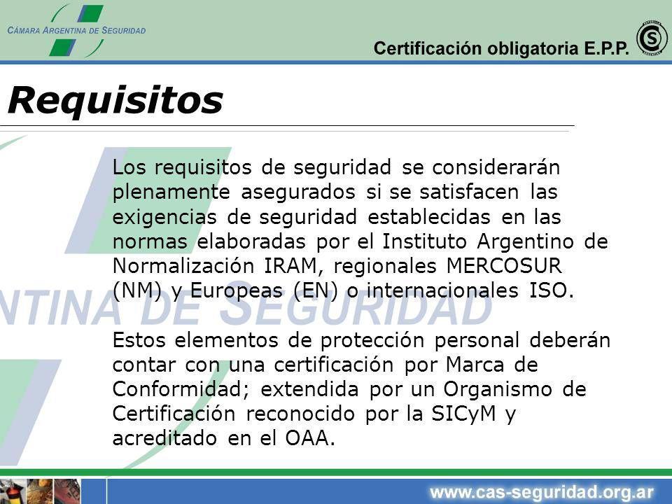Los requisitos de seguridad se considerarán plenamente asegurados si se satisfacen las exigencias de seguridad establecidas en las normas elaboradas p
