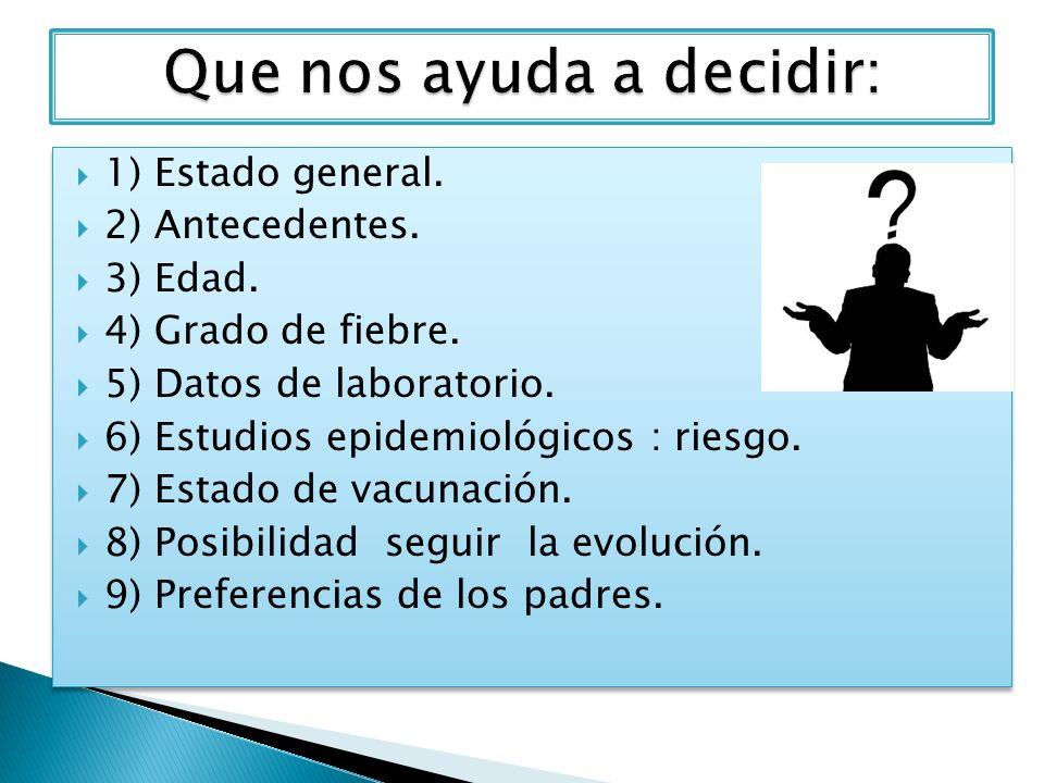 1) Estado general. 2) Antecedentes. 3) Edad. 4) Grado de fiebre. 5) Datos de laboratorio. 6) Estudios epidemiológicos : riesgo. 7) Estado de vacunació