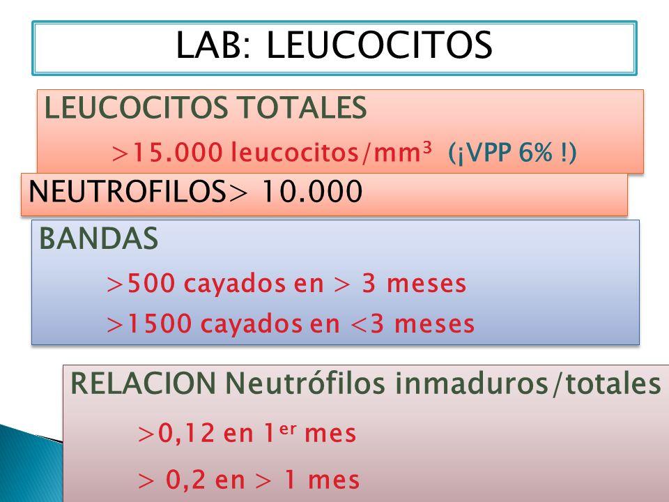 LAB: LEUCOCITOS BANDAS >500 cayados en > 3 meses >1500 cayados en <3 meses BANDAS >500 cayados en > 3 meses >1500 cayados en <3 meses LEUCOCITOS TOTAL