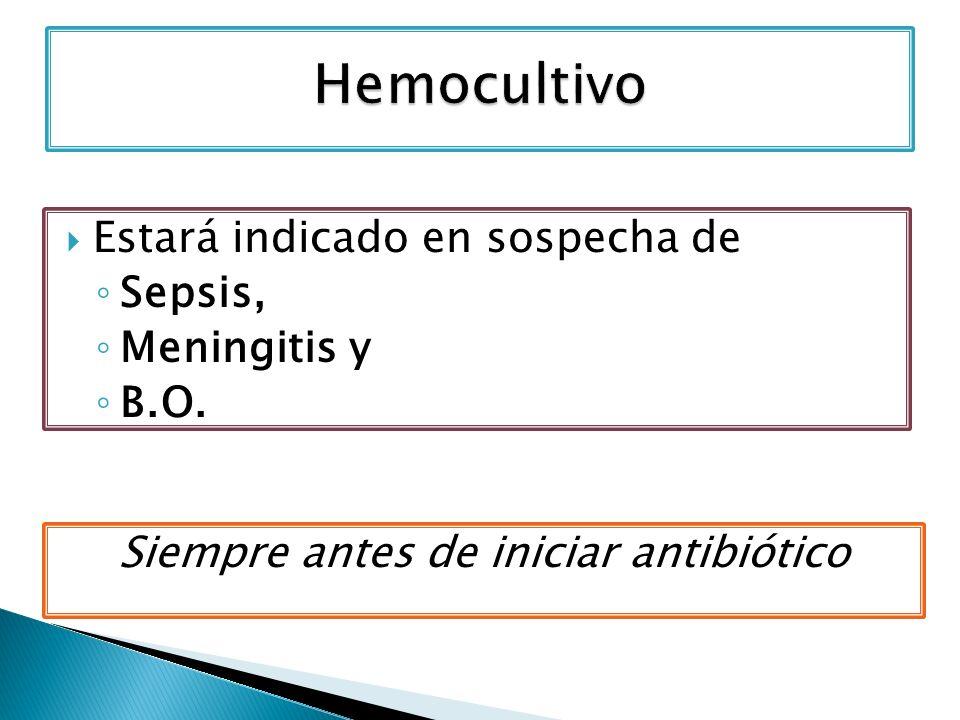 Estará indicado en sospecha de Sepsis, Meningitis y B.O. Siempre antes de iniciar antibiótico