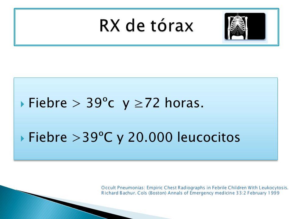 Fiebre > 39ºc y 72 horas. Fiebre >39ºC y 20.000 leucocitos Fiebre > 39ºc y 72 horas. Fiebre >39ºC y 20.000 leucocitos