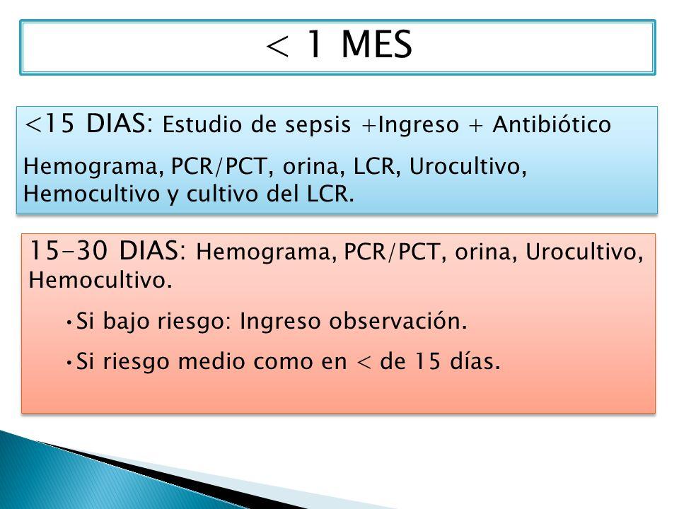 < 1 MES <15 DIAS: Estudio de sepsis +Ingreso + Antibiótico Hemograma, PCR/PCT, orina, LCR, Urocultivo, Hemocultivo y cultivo del LCR. <15 DIAS: Estudi