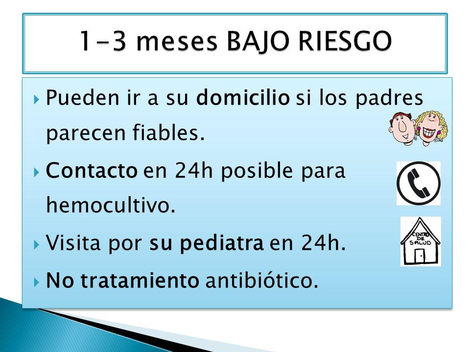 Pueden ir a su domicilio si los padres parecen fiables. Contacto en 24h posible para hemocultivo. Visita por su pediatra en 24h. No tratamiento antibi
