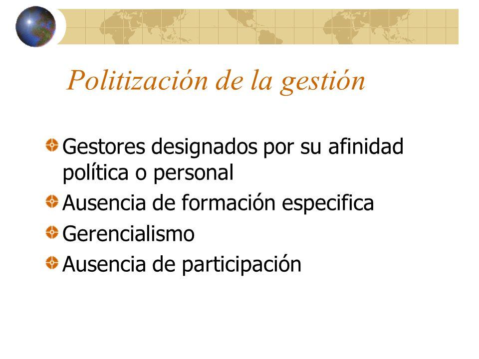 Politización de la gestión Gestores designados por su afinidad política o personal Ausencia de formación especifica Gerencialismo Ausencia de participación