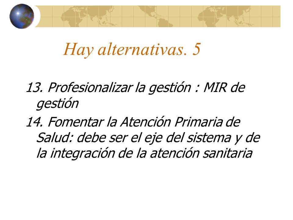 Hay alternativas. 5 13. Profesionalizar la gestión : MIR de gestión 14.