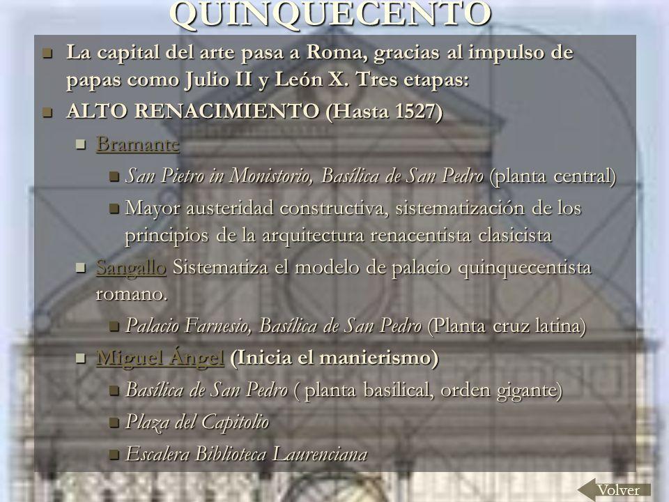 QUINQUECENTO Volver La capital del arte pasa a Roma, gracias al impulso de papas como Julio II y León X.