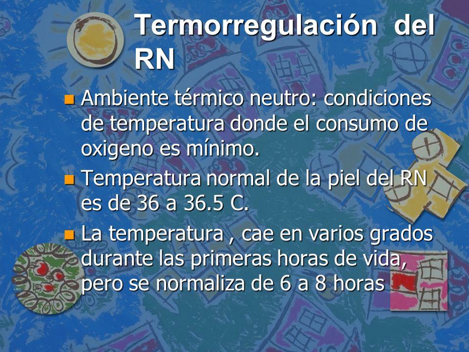 Mecanismos de perdida de calor n Por evaporación: por piel, se reduce con el secado n Por radiación: Hacia los objetos fríos.