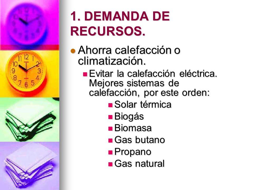 1. DEMANDA DE RECURSOS. Ahorra calefacción o climatización. Ahorra calefacción o climatización. Evitar la calefacción eléctrica. Mejores sistemas de c