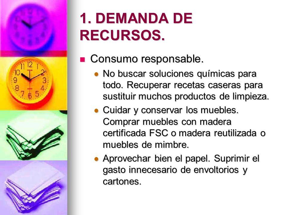 1. DEMANDA DE RECURSOS. Consumo responsable. Consumo responsable. No buscar soluciones químicas para todo. Recuperar recetas caseras para sustituir mu