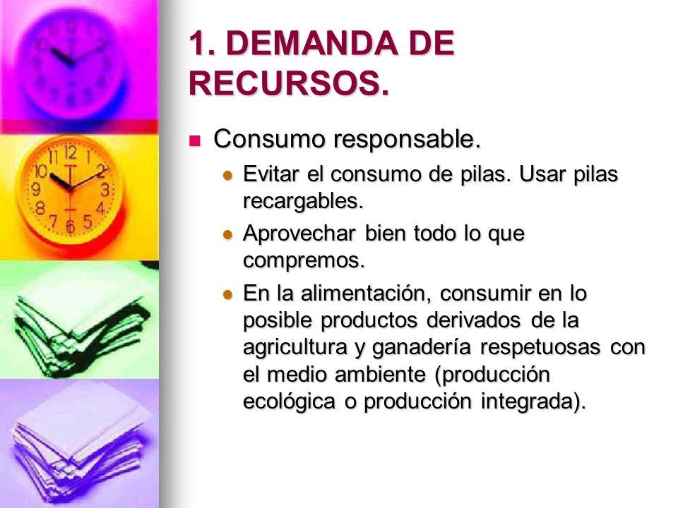 1. DEMANDA DE RECURSOS. Consumo responsable. Consumo responsable. Evitar el consumo de pilas. Usar pilas recargables. Evitar el consumo de pilas. Usar