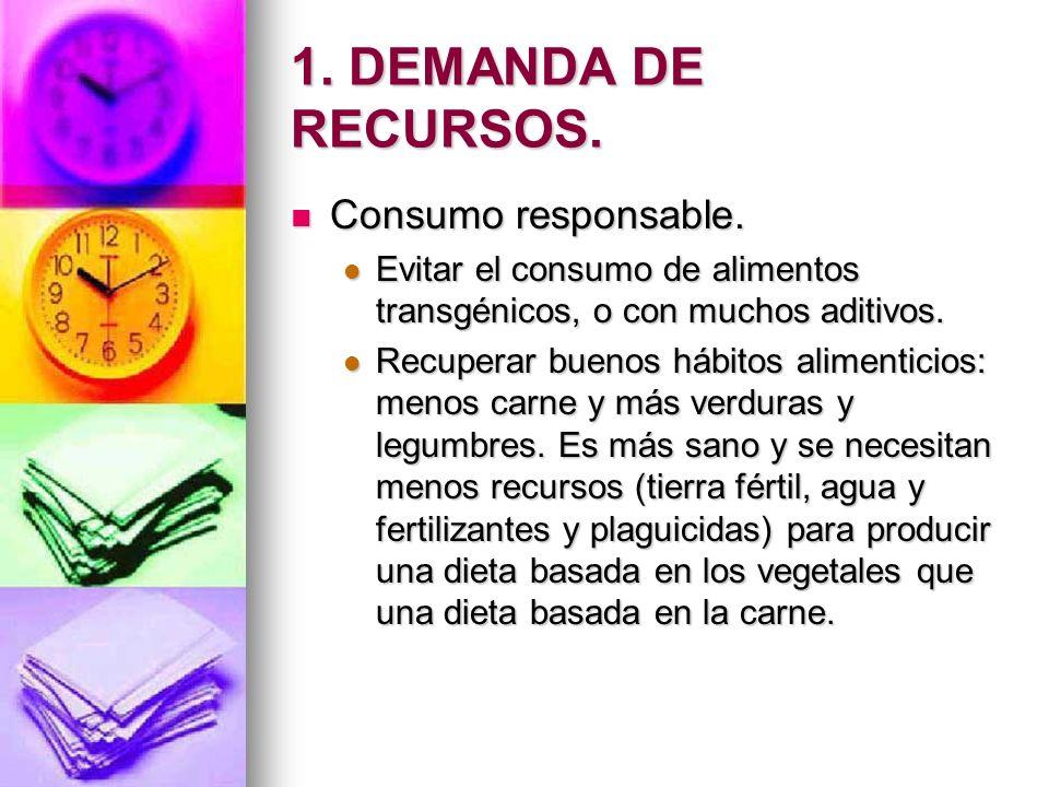 1. DEMANDA DE RECURSOS. Consumo responsable. Consumo responsable. Evitar el consumo de alimentos transgénicos, o con muchos aditivos. Evitar el consum